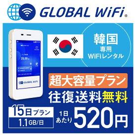 【レンタル】韓国 wifi レンタル 超大容量 15日 プラン 1日 1.1GB 4G LTE 海外 WiFi ルーター pocket wifi wi-fi ポケットwifi ワイファイ globalwifi グローバルwifi 〈◆_韓国 4G(高速) 1.1GB/日 超大容量_rob#〉