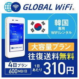 【レンタル】韓国 wifi レンタル 大容量 4日 プラン 1日 600MB 4G LTE 海外 WiFi ルーター pocket wifi wi-fi ポケットwifi ワイファイ globalwifi グローバルwifi 〈◆_韓国 4G(高速) 600MB/日 大容量_rob#〉