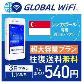 【レンタル】シンガポール wifi レンタル 超大容量 3日 プラン 1日 1.1GB 4G LTE 海外 WiFi ルーター pocket wifi wi-fi ポケットwifi ワイファイ globalwifi グローバルwifi 往復送料無料 空港受取返却可能 〈◆_シンガポール 4G(高速) 1.1GB/日 超大容量_rob#〉