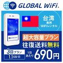 【レンタル】台湾 wifi レンタル 超大容量 3日 プラン 1日 1.1GB 4G LTE 海外 WiFi ルーター pocket wifi wi-fi ポケットwifi ワイファ…