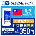 【レンタル】台湾 wifi レンタル 大容量 3日 プラン 1日 600MB 4G LTE 海外 WiFi ルーター pocket wifi wi-fi ポケットwifi ワイファイ…