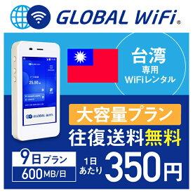 【レンタル】台湾 wifi レンタル 大容量 9日 プラン 1日 600MB 4G LTE 海外 WiFi ルーター pocket wifi wi-fi ポケットwifi ワイファイ globalwifi グローバルwifi 〈◆_台湾 4G(高速) 600MB/日 大容量_rob#〉
