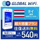 【レンタル】タイ wifi レンタル 超大容量 4日 プラン 1日 1.1GB 4G LTE 海外 WiFi ルーター pocket wifi wi-fi ポケットwifi ワイファ…