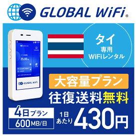【レンタル】タイ wifi レンタル 大容量 4日 プラン 1日 600MB 4G LTE 海外 WiFi ルーター pocket wifi wi-fi ポケットwifi ワイファイ globalwifi グローバルwifi 〈◆_タイ 4G(高速) 600MB/日 大容量_rob#〉