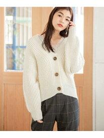 [Rakuten Fashion](W)3GワッフルアミCD GLOBAL WORK グローバルワーク ニット カーディガン ホワイト ブラック ベージュ レッド イエロー【送料無料】