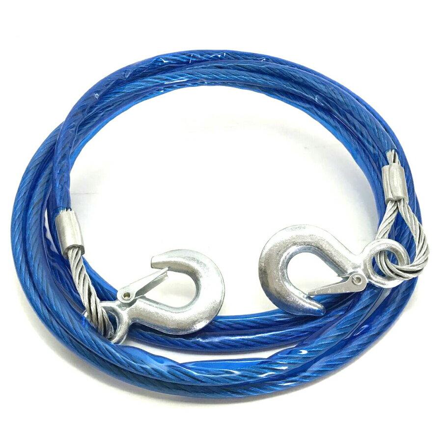 牽引ロープ 4m3トン 白旗 簡易収納袋付き けん引 フック式 ワイヤータイプ