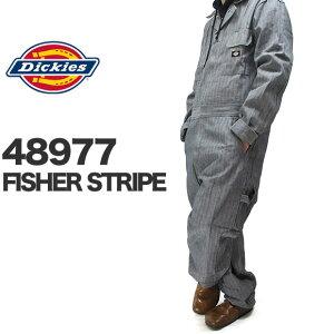 Dickies ディッキーズ つなぎ おしゃれ 4897 48977 フィッシャーストライプ デラックスカバーオール 長袖 つなぎ DELUXE COVERALL FISHER STRIPE 仕事着 作業着 仕事服