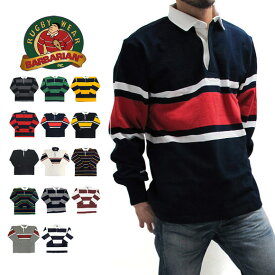 BARBARIAN バーバリアン ラガーシャツ メンズ 長袖 ラグビーシャツ ポロシャツ ボーダー