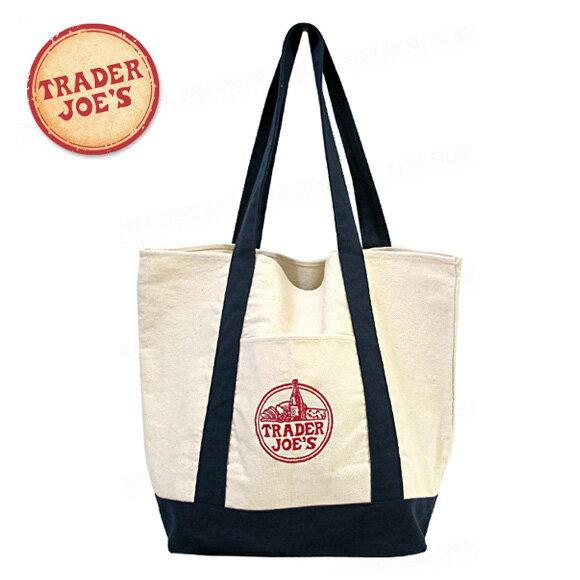 TRADER JOE'S トレーダージョーズ ロゴ刺繍 キャンバス エコバッグ ママバッグ トートバッグ
