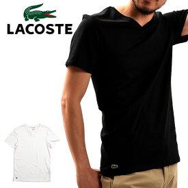 【メール便配送】LACOSTE SLIM FIT ラコステ 半袖 Tシャツ ワンポイント Vネック スリムフィット TH3374 メンズ 男性用 ホワイト ブラック 大きいサイズ