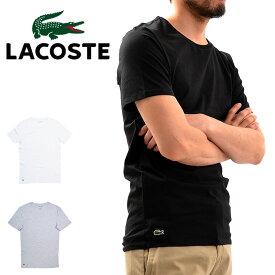 【メール便配送】LACOSTE SLIM FIT ラコステ 半袖 Tシャツ ワンポイント クルーネック スリムフィット TH3321 メンズ 男性用 ホワイト ブラック 大きいサイズ