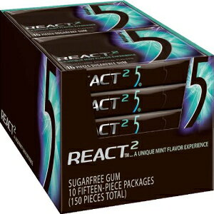 リグレーズガム5-React Mint、1.76オンスパッケージ(10個入り) 5 Gum Wrigley's Gum 5 - React Mint, 1.76-Ounce Packages (Pack of 10)