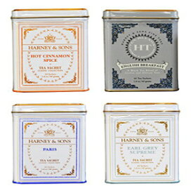 Harney&Sons Cup of Tea Variety Pack of 4-Hot Cinnamon Spice、English Breakfast、Paris、Earl Grey Supreme Harney & Sons Cup of Tea Variety Pack of 4 - Hot Cinnamon Spice, English Breakfast, Paris, Earl Grey Supreme