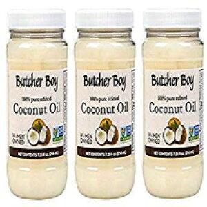 肉屋の少年ココナッツオイル  100%ピュアリファイン  7.25液量オンス  3パック Butcher Boy Coconut Oil   100% Pure Refined   7.25 fl oz   3 Pack