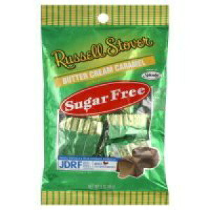 Russell Stover、シュガーフリー、バタークリームキャラメルキャンディ、3オンスバッグ(4パック) Russell Stover, Sugar Free, Butter Cream Caramel Candy, 3oz Bag (Pack of 4)