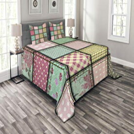 Ambesonne Shabby Chic Bedspread Set Queen Size, Patchwork