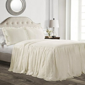 Lush Decor Ruffle Skirt Bedspread Ivory Shabby Chic Farmhouse Style Lightweight 3 Piece Set Queen