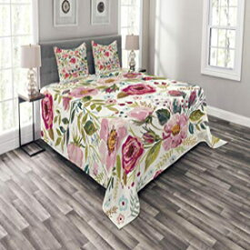 Lunarable Floral Bedspread Set Queen Size, Shabby