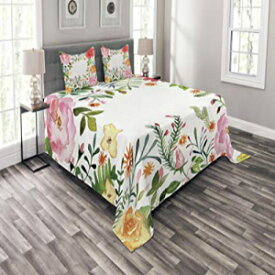Lunarable Flower Coverlet Set Queen Size, Shabby