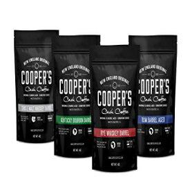 バーボン、ウイスキー、ラム酒樽熟成コーヒー、4袋ギフトボックスコーヒーサンプラーセット16オンス-シングルオリジンスマトラウイスキー、エチオピアライ、ルワンダラムローストコーヒー豆、合計16オンス Cooper's Cask Coffee Bourbon, Whiskey & Rum Barrel A