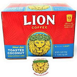 bトーストココナッツ、ライオンコーヒートーストココナッツシングルサーブポッド(12ポッドボックス)専用のライオンコーヒーファクトリーダイレクトブランド登録ステッカー、アイラン