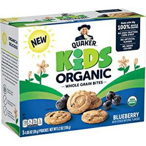 クエーカーキッズオーガニック全粒粉バイト、ブルーベリー、1.05オンスポーチ、5カウント Quaker - Bars Quaker Kids Organic Whole Grain Bites, Blueberry, 1.05oz Pouches, 5 Count