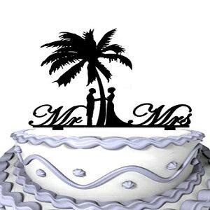 ヤシの木の筆記体の夫婦のウェディングケーキトッパーの下でMeijiafeiの花嫁と花room Meijiafei Bride and Groom Under Palm Tree Cursive Mr and Mrs Wedding Cake Topper