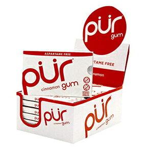 PUR Company、無糖+アスパルテームフリーチューインガム、100%キシリトール、シナモン、ビーガン+非GMO、9カウント、12パック The PUR Company, Sugar-Free + Aspartame-Free Chewing Gum , 100% Xylitol, Cinnamon, Vegan