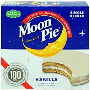 MoonPieシングルデッカーバニラマシュマロサンドイッチ-2オンス、12カウントボックス(8ボックスパック、合計96カウント)  バニラカバーのグラハムクラッカーとマシュマロパイ MoonPie Single De