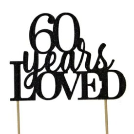 All About Details Black 60-Years-Loved Cake Topper