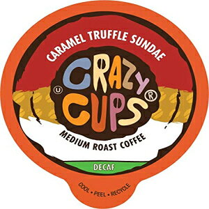 Crazy Cups Flavored Decaf Coffee, for the Keurig K Cups Coffee 2.0 Brewers, Caramel Truffle Sundae, 22 Count