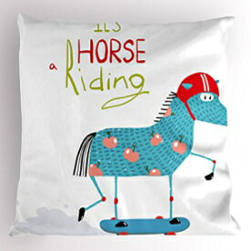 Lunarable Quirky Pillow Sham, Horse Character on