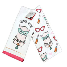 "ENVOGUE Gllama-Rous Glamours Llama Wearing Eyeglass & Makeup Set of Two Decorative Quirky Kitchen Hand Guest Towels 18"" x 28"""