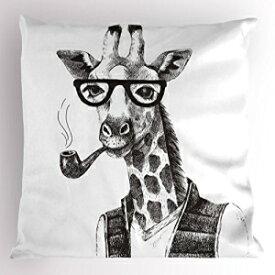 Lunarable Quirky Pillow Sham, Giraffe Smoking Pipe