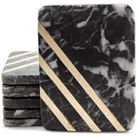 """Cork & Mill Marble Coasters for Drinks - Handcrafted Modern Coasters - 4"""" Square Drink Coasters - Black Marble Coasters with Gold Brass Inlay - Made from Real Solid Marble - Set of 6"""
