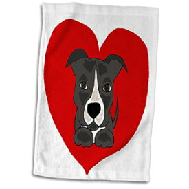 3D Rose Fun Grey and White Pitbull Puppy Dog and
