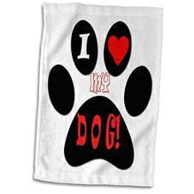 "3D Rose I Love My Dog. Puppy Hand Towel, 15"""