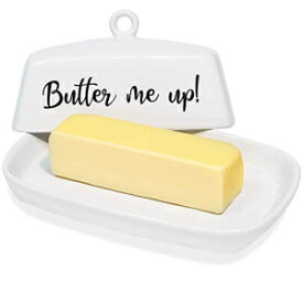 Clever U White Ceramic Butter Dish with Classic Shape & Quirky 'Butter Me Up' Lid Design