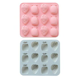 MoldFun Fewo 2 Pack Strawberry Pineapple Silicone Molds for Chocolate Candy Gummy Gelatin Jello Jelly Baking Cake Soap Crayons Wax Melt Plaster Ice Cube Trays