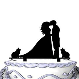 Meijiafei Groom and Bride Kissing and 2 Cats Wedding Cake Topper