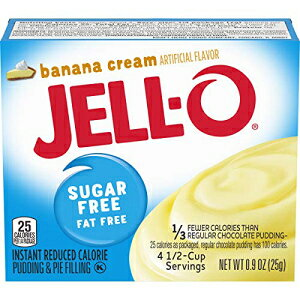 JELL-O無糖無脂肪インスタントプリン&パイフィリングミックス、バナナクリーム、0.9オンス、6パック Jell-O Instant Banana Sugar-Free Fat Free Pudding & Pie Filling (0.9 oz Boxes, Pack of 6)