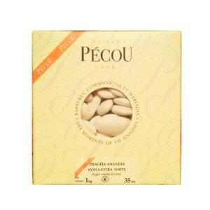 フレンチアーヴォラアーモンドドラジェ(フレンチジョーダンアーモンド)、白色1kg(2.2lbs) Dragees Pecou French Avola Almond Dragees (French Jordan Almonds), White color 1kg (2.2lbs)