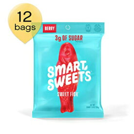 SmartSweets Low Sugar Sweet Fish Candy, 1.8 Ounce Bag, Free of Sugar Alcohols and No Artificial Sweeteners, Sweetened with Stevia, Natural Fruit Flavors, 12 Count
