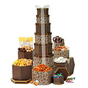 Broadway Basketeers Gift Tower Deluxeグルメチョコレート、ナッツ、スイーツなどの7つのギフトボックス付き。高さ2フィート Broadway Basketeers Gift Tower Deluxe With 7 Gift boxes of Gourmet Chocolates, Nuts, Sweets & More.