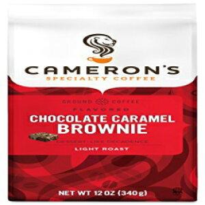 キャメロンのコーヒー焙煎挽いたコーヒーバッグ、フレーバー、チョコレートキャラメルブラウニー、12オンス(3パック) Cameron's Coffee Roasted Ground Coffee Bag, Flavored, Chocolate Caramel Brownie, 12 Ounce