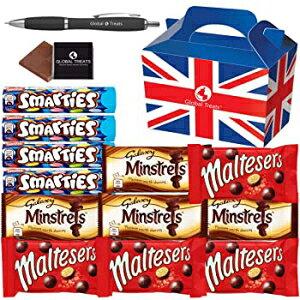 ブリティッシュチョコレートのお気に入りのセレクション-SmartiesHexatubex4。Maltesers x4、Galaxy Minstrels x4、-12個のフルサイズチョコレートキャンディー、ユニークなギフトボックスと無料のGlobal T