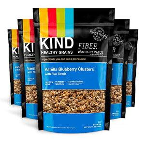 種類の健康的な穀物クラスター、亜麻仁グラノーラ入りバニラブルーベリー、10gタンパク質、グルテンフリー、11オンスバッグ、6カウント KIND Healthy Grains Clusters, Vanilla Blueberry with Flax Seeds Grano