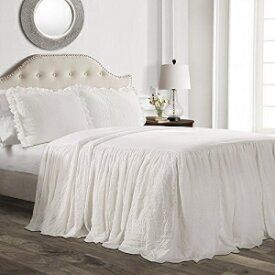 Lush Decor Ruffle Skirt Bedspread White Shabby Chic Farmhouse Style Lightweight 3 Piece Set Queen