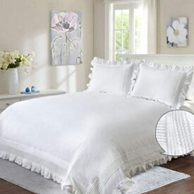 Ruffle Duvet Cover White Queen Women 3PC Shabby C