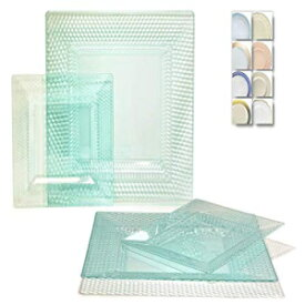 """OCCASIONS"" 50プレートパック(25ゲスト)-ヘビーウェイトウェディングパーティースクエア使い捨てプラスチックプレートセット-(25 x 9.5 '' + 25 x 6.5 ''(Vitro in Square Clear Tiffany Green) OCCASIONS FINEST PLASTIC TABLEWARE "" OCCA"